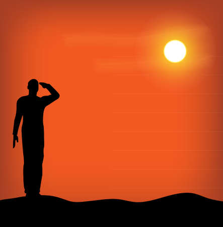 Silhouette of an army soldier saluting on hills against sunset Stock Vector - 10339106