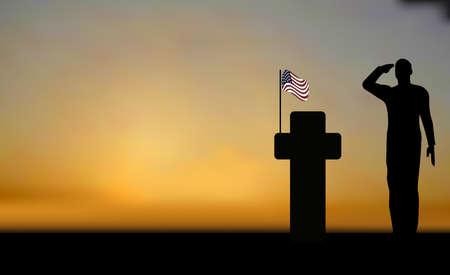 coast guard: Silueta de un soldado del ej�rcito saludando en colinas contra puesta de sol y una tumba  Vectores