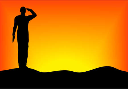 military silhouettes: Silhouette of an army soldier saluting on hills against sunset