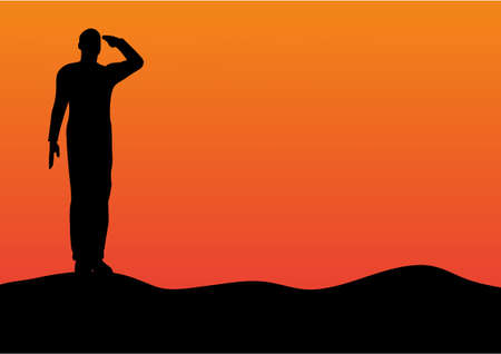 Silhouette of an army soldier saluting on hills against sunset  Vector