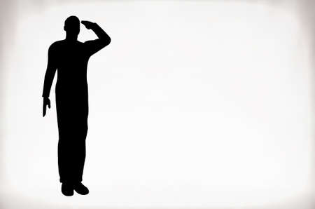 us soldier: Silhouette of an army soldier saluting