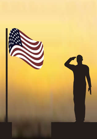 armed force: Silhouette of an army soldier on a platform saluting a usa flag