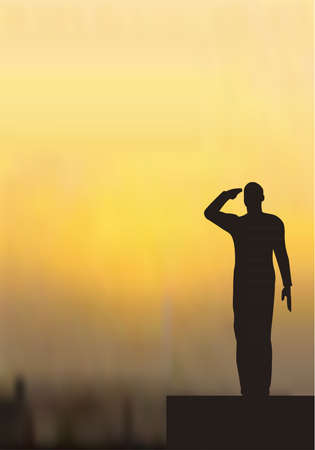 Silhouette of an army soldier on a platform saluting Stock Vector - 10339061