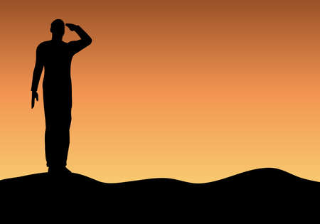 Silhouette of an army soldier saluting on hills against sunset Stock Vector - 10339057