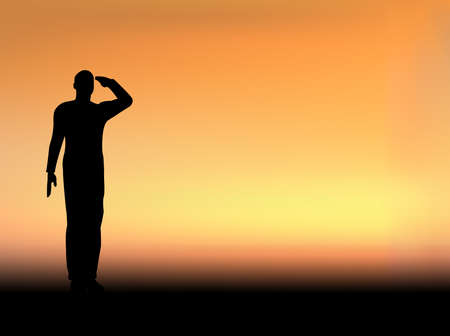Silhouette of an army soldier saluting on hills against sunset Stock Vector - 10339063