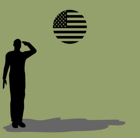 салют: Силуэт солдата армии на платформе отдавая честь флага США