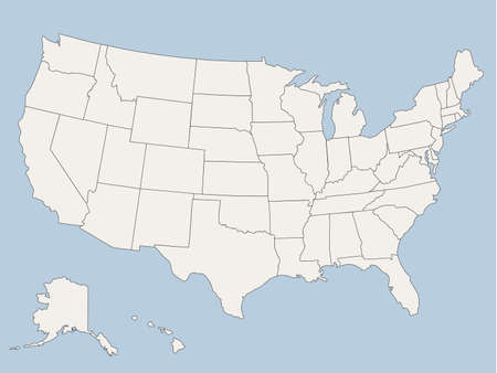 new york map: map of the united states of america
