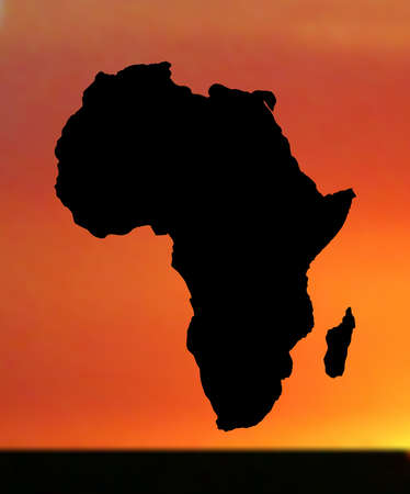 map of africa: illustration of map of africa in sunset
