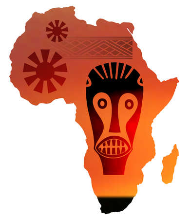 rapacious: illustration of map of africa in sunset