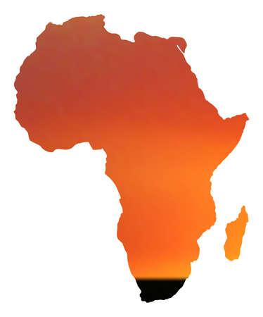 illustratie van de kaart van Afrika in zonsondergang