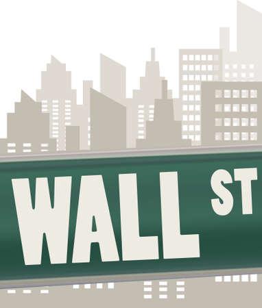 arte callejero: Wall Street placa de se�al en verde sobre rascacielos