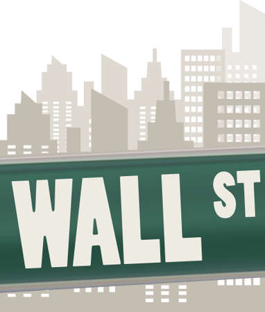 newyork: wall street sign plate on green over skyscrapers