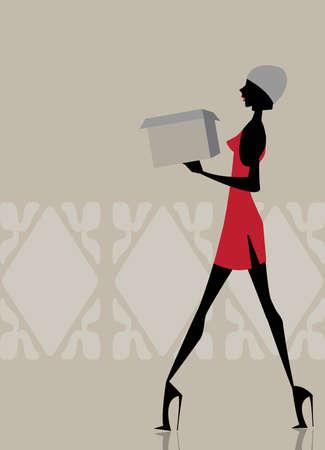 carrying box: Chica glamour caminando y llevando una caja de compra Vectores
