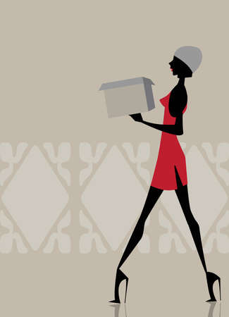 woman holding bag: Glamour girl walking and carrying a shopping box Illustration