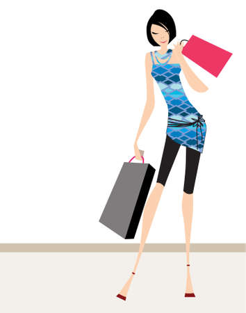attractive: Glamour girl standing and carrying shopping bags