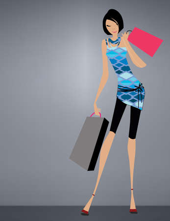 Glamour girl standing and carrying shopping bags Vector