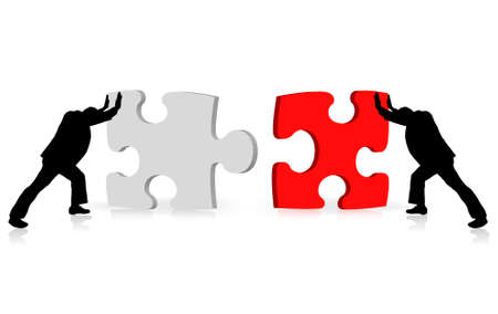 struggling: business concept of achievement of success illustrated via puzzle togetherness