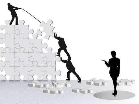 met het bereiken van zakelijk succes via team bouwen op puzzel