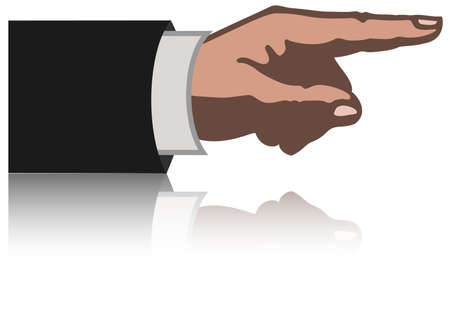 Hand with pointing finger with reflection Vector
