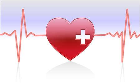 ritme: hartslag van een gezond hart met reflectie Stock Illustratie
