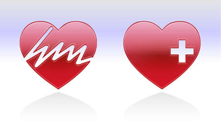 healty: heart beats on a heart and a healty heart with reflection
