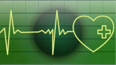 first aid sign: heart beats of a healty heart on green Illustration