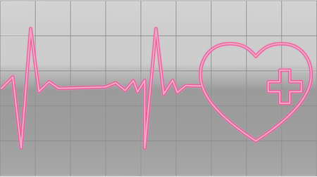 heart beats of a healty heart on gray Vector