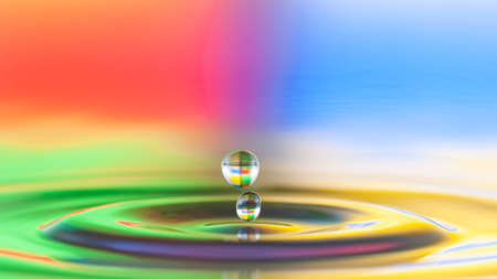 Two droplets jump of water surface