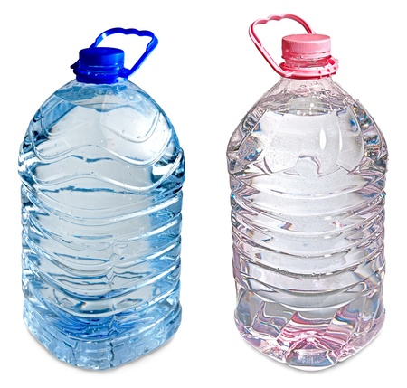 isolated pink and blue full five liter bottles of water photo