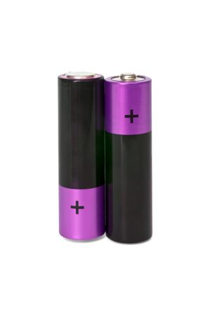 two AA batteries standing on a white background isolated photo