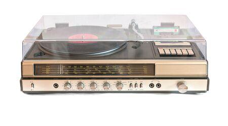 retro music center isolated on white background photo