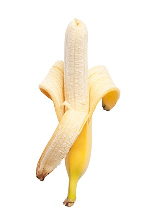 peeled banana half isolated on white background  Stock Photo - 10049514