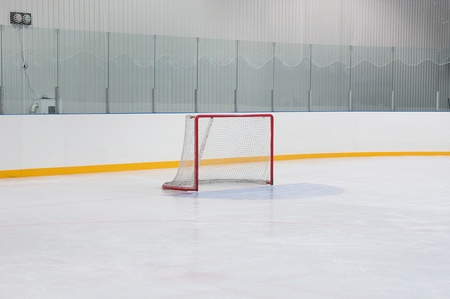 ice arena: empty hockey gate at empty the site and no advertising boards Stock Photo