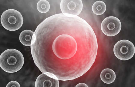 Human cells with science background. 3d render