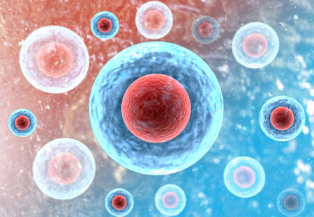 Human cells with science background. 3d render  Stockfoto