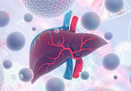 Virus Infection of Human Liver. science background. 3d illustration Stock fotó