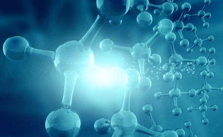 Molecule or atom on science background. 3d illustration  Stockfoto