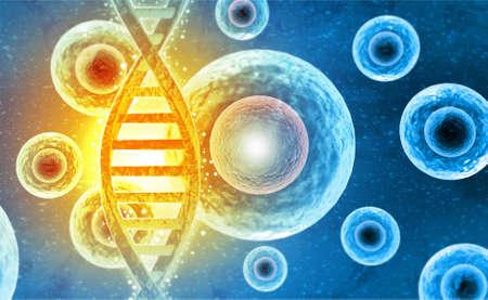 DNA strands on science background. 3d illusation
