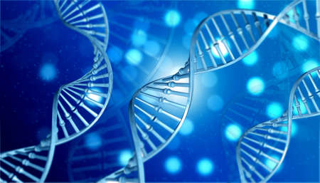 Human DNA with science background. 3d illustration