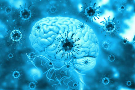 Virus infection on brain. 3d illustration
