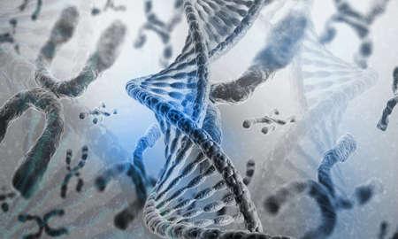 DNA strands on science background. 3d illusation Imagens - 131713542
