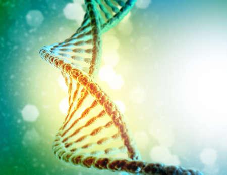 DNA strands on science background. 3d illusation   Stok Fotoğraf