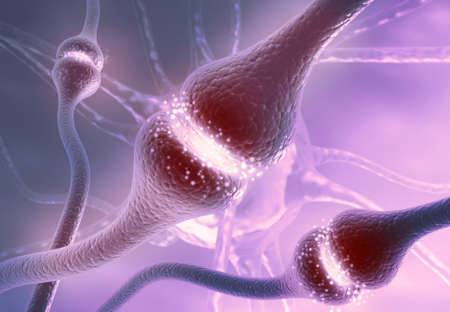 Neuron cells sending electrical chemical signals. 3d illustration  Stockfoto