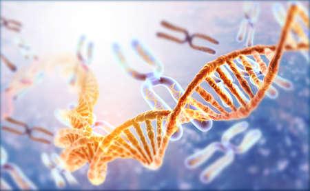 DNA strands on Scientific background. 3d illusation   Stok Fotoğraf