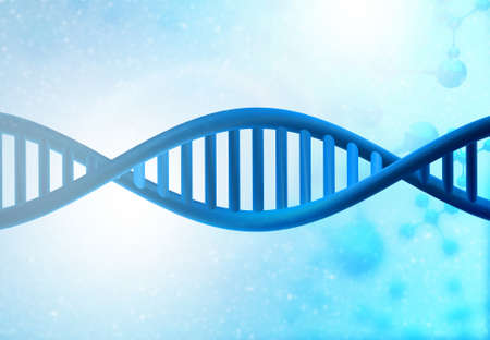 DNA strands on Scientific background. 3d illusation