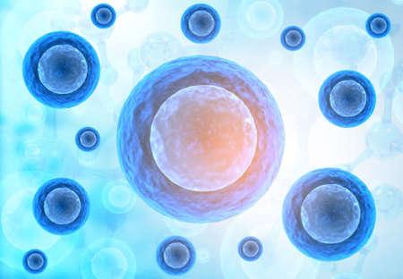 Human cells with Scientific background. 3d render Stok Fotoğraf
