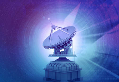Satellite dish on abstract tech background. 3d illustration