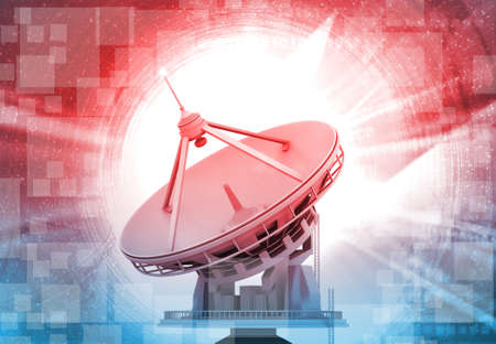 Satellite dish on abstract tech background. 3d illustration 스톡 콘텐츠