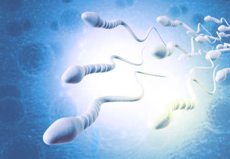 Sperm cells on scientific background. 3d illustration Standard-Bild - 132948331