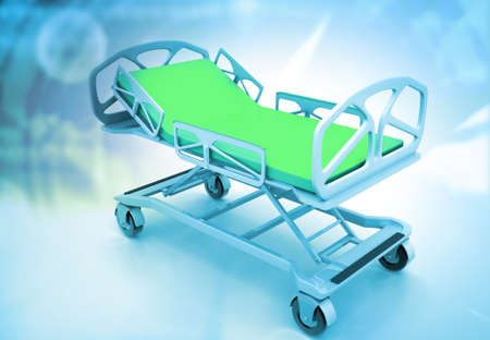 Hospital bed on medical background. 3d illustration